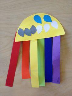 Regenboog maken. Leg uit hoe de regenboog ontstaat. Benoem de kleuren van de strookjes en laat de kinderen de stroken in de zelfde volgorde als jouw voorbeeld plakken!