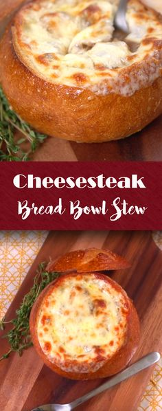 Cheesesteak Bread Bowl Stew Recipe | Turn your cheeesteak inside out with this stick-to-your-ribs stew. This warm mix of beef, mushrooms, spices and cheese is tucked inside a bread bowl for the ultimate in wintertime warming. It's easier than you might think, too. Click for the video and recipe. #comfortfood #winterwarmup