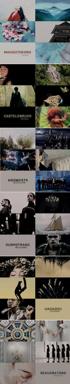 Wizarding Schools Around the World: Beauxbatons / Castelobruxo / Durmstrang / Hogwarts / Mahoutokoro / Uagadou #hp