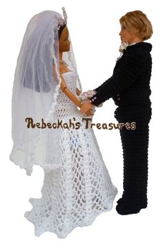 Crochet Barbie Wedding Set for Isabel by Rebeckah's Treasures ~ Barbie and Ken Say I Do