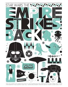 Star Wars Poster print, Empire Strikes back movie poster
