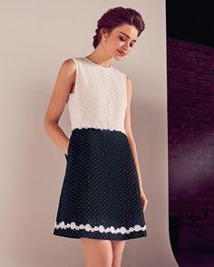 Floral lace A-line dress - Dark Blue | Dresses | Netherlands Site