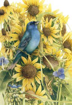 Marjolein Bastin(b.1943)  -  Birds in Sunflowers  (840×1211)