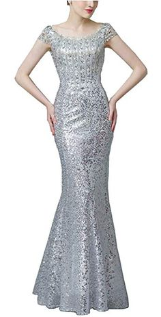 fc1671055e Meet Edge Women s Beaded Mermaid Sequined Long Evening Dress US2 Sliver