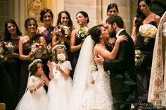 First kiss at a wedding ceremony at Cathedral of Christ the King