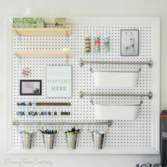 Pegboard. Changes easily.