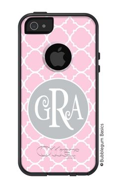 OTTERBOX Commuter iPhone 5 4/4S Case Light Pink Lattice Gray Circle 3 Letter Initials Personalized Monogram. $59.90, via Etsy.