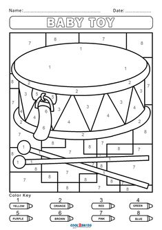 Free Spring Coloring Pages, Colouring Pages, Coloring For Kids, Coloring Sheets, Free Coloring, Kindergarten Colors, Preschool Colors, Numbers Preschool, Color By Numbers