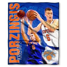 The Northwest Co NBA 575 Knicks Kristaps Porzingis color Silk-touch Throw