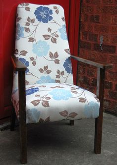 Fab Vintage Retro 1940s Cream  Blue Re-upholstered Bedroom Wooden Arm Chair