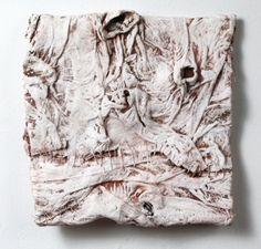 Elisa D'Arrigo handmade paper, pigments, acrylic paint, thread
