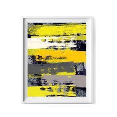 Abstract grey and yellow printable art by Sagacious Design