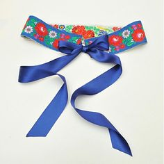 Oboustranný opasek Blue folk by indiva - SAShE.sk - Handmade Opasky
