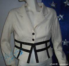 veste rétro chic coupe empire blanc ivoire et par MatheHBcouture