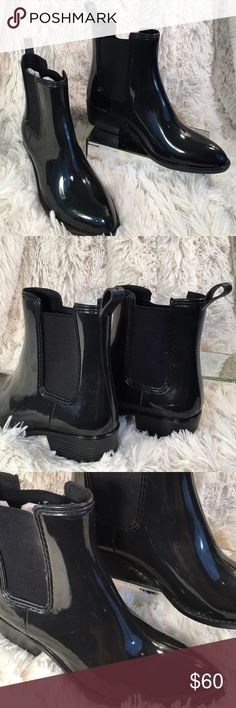 Jeffrey Campbell Like New Black Rain Boot Jeffrey Campbell Like New Black Rubber Rain Ankle Boots.  A few minor rub marks as photographed barely noticeable. Jeffrey Campbell Shoes Ankle Boots & Booties