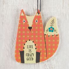 """Air Freshener Red Fox """"Life is Crazy Good"""" - You will really enjoy this set of three lemon-scented fox air fresheners with the sentiment """"life is crazy good."""" These car air fresheners smell great and add a run pop of color to your car or locker!"""