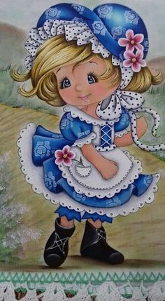 From my friend Bella ❤️ One Stroke Painting, Tole Painting, Fabric Painting, Decoupage, Sarah Kay, Holly Hobbie, Big Eyes, Cute Cartoon, Cute Drawings