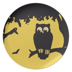 Spooky Vintage Halloween Owl, Tree with Full Moon Plates