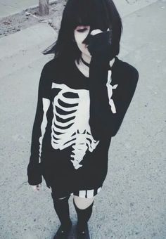 Black hair goth girl skeleton sweater