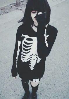 Black hair goth girl skeleton sweater