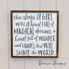 Here sleeps a girl with a head full of magical dreams - Framed Wood Sign - Girl…