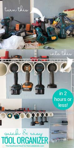 DIY Power Tool Organizer Quick And Easy Tutorial @Remodelaholic: