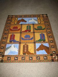 Saddle up your Horses.quilted by Charisma Quilting Projects, Quilting Designs, Quilting Ideas, Embroidery Designs, Sewing Projects, Boy Quilts, Mini Quilts, Cowgirl Baby, Cowgirl Room