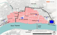 Today, Feb 23rd is Samuel Pepys birthday. So, in his honour, here is a map of 17th century London showing the area devastated by the great fire #SamuelPepys #GreatFire #London #PuddingLane #Map