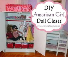 I love this idea for a DIY American Girl Doll Closet