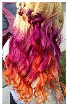 Blonde purple orange dyed hair @dyedgirls