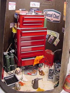 Mechanic's Tool Chest 1:12 Scale Miniature Mechanic's Tool Chest made from metal pepper tins.