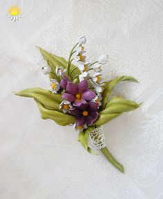 Lily of the valley, Parma Violet, flowers Brooch for women, leather jewelry…