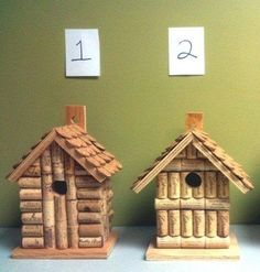 Wine cork and wood birdhouse handmade from by LesliesCorkCreation
