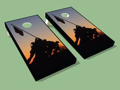 Soldiers Raising Flag - Military Cornhole Board Wraps - Awesome Military Cornhole Board Wraps