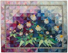 White Coneflowers by Ann Fahl - delightful & love the pieced background!!!