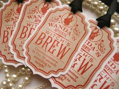 Wanda's Witch's Brew Halloween Tags - Vintage - Pumpkin Orange and White with Gothic Black Ribbon SET OF 5 Decoration Labels