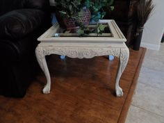 Vintage Shabby Chic Glass Topped End Table in Off by WildAttic, $100.00