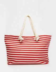 Buji+Baja+Canvas+Stripe+Beach+Bag+With+Rope+Handles