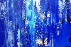 Abstract Painting 24x36 Blue Turquoise and by JenniferFlanniganart