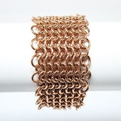 Chainmail Copper Reclaimed Wire Maille Bracelet 4in1 Armour Weave