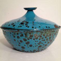 Vintage 1960's Mid Century Modern Hanova Enamel Covered Dish Pot w Lid Eames   eBay