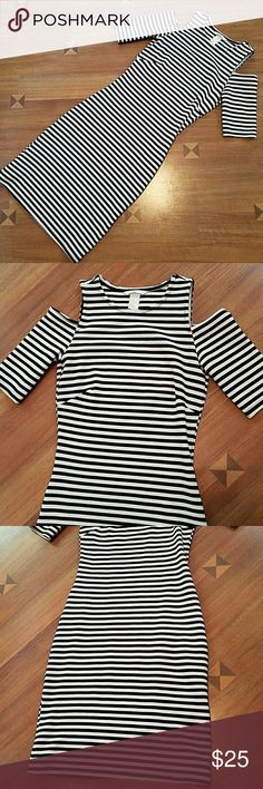 H&M cold shoulder dress Black and white cold shoulder fitted dress. Worn once, excellent condition! It's a beautiful dress! H&M Dresses Midi