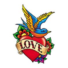 Lucky in Love Sparrow Temporary Tattoo | Tainted Tats | Adult Temporary Tattoos