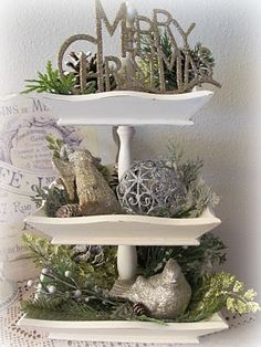 Tons of sources for making tiered stands and how to decorate them this one if for Christmas