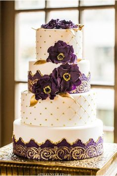 Purple and Gold Wedding Cake – shared on Style Unveiled