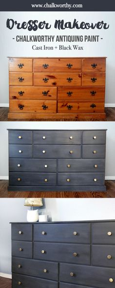 Cute & easy dresser makeover with Chalkworthy's Cast Iron and Black Wax!