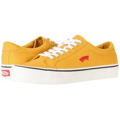 Vans Court Icon ((Salton Canvas) Mineral Yellow/Cloud Dancer) Skate... (€47) ❤ liked on Polyvore featuring shoes, yellow shoes, tennis shoes, long shoes, yellow canvas shoes and tenny shoes