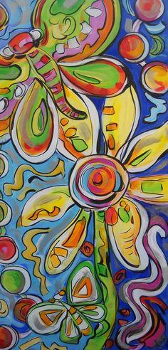"Daisy & Butterflies - A 36"" x 18"" Original Acrylic Painting. $395.00, via Etsy."