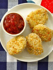 "Easy Chicken Nuggets | Weelicious  "" I really liked these! Probably best ones I've made at home. My daughter said they were too crunchy, so might use regular bread crumbs next time for the chicken nugget expert:) """
