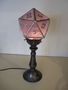 stained glass d20 lamp